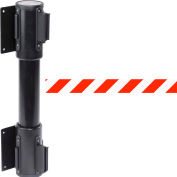 WallPro Twin Black Post Retracting Belt Barrier, 7.5 Ft. Red/White Belt