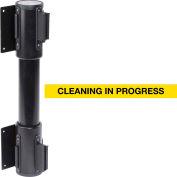 WallPro Twin Black Post Retracting Belt Barrier, 7.5 Ft. Yellow Clean In Progress Belt