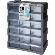 "Quantum Plastic Drawer Cabinet PDC-18BK - 18 Tiroirs 6-1/4""W x 15""D x 18-3/4""H"