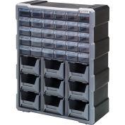 "Quantum Plastic Drawer Cabinet PDC-930BK - 39 Tiroirs 6-1/4""W x 15""D x 18-3/4""H"
