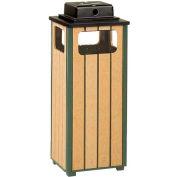 "Urn And Trash Receptacle, Green/Cedar, 12 gal capacity, 13.5""Sq x 32""H"