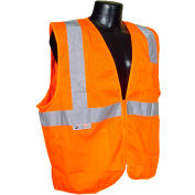 Radians® SV2Z Economy Class 2 Mesh Safety Vest W/ Zipper, Hi-Vis Orange, L - Pkg Qty 12