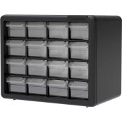 "Akro-Mils Plastic Drawer Parts Cabinet 10116 - 10-1/2""W x 6-3/8""D x 8-1/2""H, Black, 16 Drawers"
