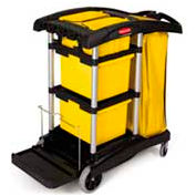Rubbermaid® Microfiber Janitor Cart, Black 9T73