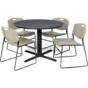 """Regency Table and Chair Set - 42"""" Round - Gray Table / Gray Wide Plastic Chairs"""