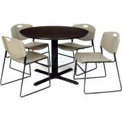 """Regency Table and Chair Set - 42"""" Round - Mocha Walnut Table / Gray Wide Plastic Chairs"""