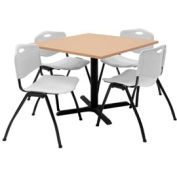 """Regency Table and Chair Set - 36"""" Square - Beige Table / Gray Plastic Chairs"""