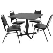 """Regency Table and Chair Set - 36"""" Square - Gray Table / Black Vinyl Chairs"""