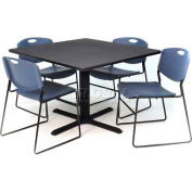 """Regency Table and Chair Set - 36"""" Square - Gray Table / Blue Wide Plastic Chairs"""