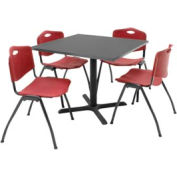"""Regency Table and Chair Set - 36"""" Square - Gray Table / Burgundy Plastic Chairs"""