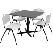 """Regency Table and Chair Set - 36"""" Square - Mocha Walnut Table / Gray Plastic Chairs"""