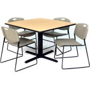 """Regency Table and Chair Set - 42"""" Square - Beige Table / Gray Plastic Chairs"""