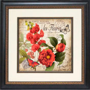 "Crystal Art Gallery - Red Floral Postcard 2 - 19-3/4""W x 19-3/4""H, Single Mat Fillet"