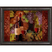 "Crystal Art Gallery - Framed Canvas w/Foil Wine Bottle Mate - 40""W x 30""H, Straight Fit Framed"