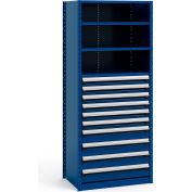 """Acier, étagères 36 """"Wx24 «Dx87» H fermé plateau 5 10 tiroir Avalanche bleu"""