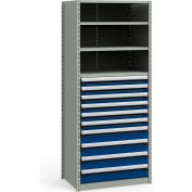 "Steel Shelving 36""Wx24""Dx87""H Closed 5 Shelf 10 Drawer Gray With Blue Drawers"