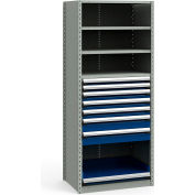 """Steel Shelving 36""""Wx24""""Dx87""""H Closed 5 Shelf 7 Drawer Gray With Blue Drawers"""