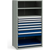 """Steel Shelving 42""""Wx24""""Dx75""""H Closed 4 Shelf 7 Drawer Gray With Blue Drawers"""