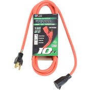 U.S. Wire 60010 10 Ft. Three Conductor Extension Orange Cord, 16/3 Ga. SJTW-A, 300V, 13A