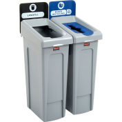 Rubbermaid Slim Jim Recycling Station, Landfill/Mixed Recycling, (2) 23 Gallon - 2007914