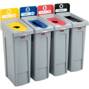 Rubbermaid Slim Jim Recycling Station, Landfill/Paper/Plastic/Cans, (4) 23 Gallon - 2007918