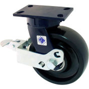"RWM Casters 8"" x 2-1/2"" Phenolic Wheel Swivel Caster with Cam Wheel Brake - 75-DUR-0825-S-FICWB"