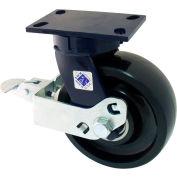 "RWM Casters 8"" x 2-1/2"" Phenolic Wheel Swivel Caster with Cam Wheel Brake - 75-DUR-0825-S-FICWB"