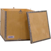 """Global Industrial™ 4 Panel Hinged Shipping Crate w/Lid & Pallet, 17-1/4""""L x 17-1/4""""W x 17-1/2""""H"""