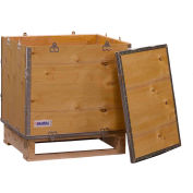 """Global Industrial™ 4 Panel Hinged Shipping Crate w/Lid & Pallet, 23-1/4""""L x 19-1/4""""W x 19-1/2""""H"""