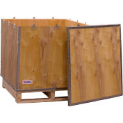 """Global Industrial™ 4-Panel Hinged Shipping Crate with Lid & Pallet, 30"""" x 30"""" x 30"""" O.D."""