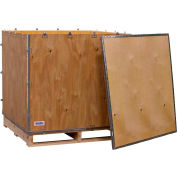 """Global Industrial™ 4-Panel Hinged Shipping Crate with Lid & Pallet, 40"""" x 40"""" x 40"""" O.D."""