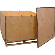 """Global Industrial™ 6 Panel Shipping Crate w/ Lid & Pallet, 47-1/4""""L x 44-1/4""""W x 29-1/2""""H"""