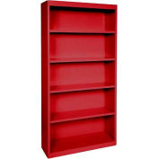"Steel Bookcase 4 Shelves 34-1/2""W x 13""D x 72""H-Red"