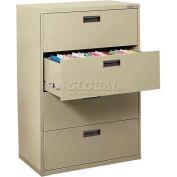 Latérales File, 4 tiroirs, 30W» x 18D» x 50-5/8 H», mastic