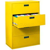 Latérales File, 4 tiroirs, 30W» x 18D» x 50-5/8 H», jaune