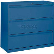 """Lateral File, 3-Drawer, 36W"""" x 19-1/4D"""" x 40-7/8H"""", Blue"""