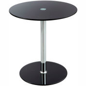 """Safco® Glass Accent Table - 17-1/2"""" Round - Black"""