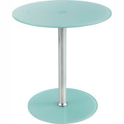 "Safco® Glass Accent Table - 17-1/2"" Round - White"