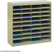 36 Compartment Steel Literature Organizer - Sand