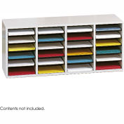 24 Compartment Adjustable Literature Organizer - Gray