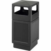 Safco® Canmeleon™ Recessed Panel, Side Open, 38 Gallon Black, 9476BL