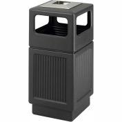 Safco® Canmeleon™ Recessed Panel, Ash Urn, Side Open, 38 Gallon Black, 9477BL