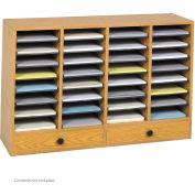 32 Compartment Adjustable Literature Organizer w/ Drawer - Oak