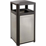Safco® extérieur Perforated Steel Side Opening Trash Can, 38 Gallon, Noir