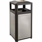 Safco® Evos™ Series Steel Garbage Can w/ Ash, 38 Gallon, 9935BL