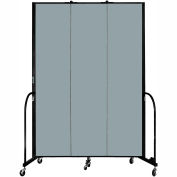 "Screenflex 3 Panel Portable Room Divider, 8'H x 5'9""L, Fabric Color: Grey Stone"