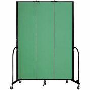 "Screenflex 3 Panel Portable Room Divider, 8'H x 5'9""L, Fabric Color: Sea Green"
