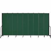 "Screenflex 9 Panel Portable Room Divider, 8'H x 16'9""L, Fabric Color: Green"