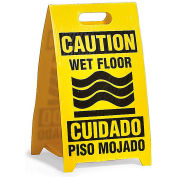 See All Plastic Floor Stand Sign - Bi-Lingual Wet Floor