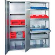 """R3000 Steel Shelving W/Six Shelves, 85""""H Starter Unit, Solid Panels W/Cross Brace, Closed"""